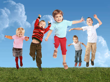 Many jumping children on grass, collage photo