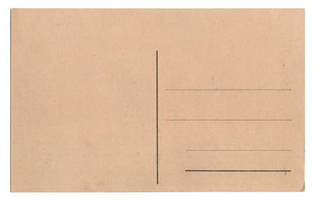 Old empty postcard isolated on white  photo