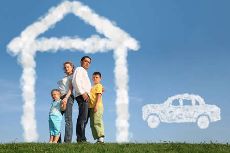 family of four dreams about house and car, collage photo
