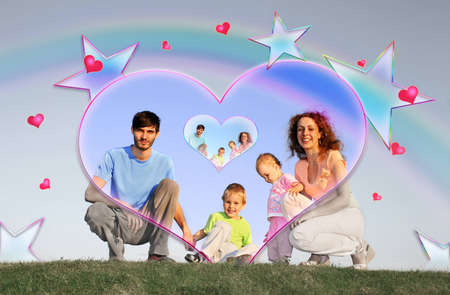 family of four in heart collage photo