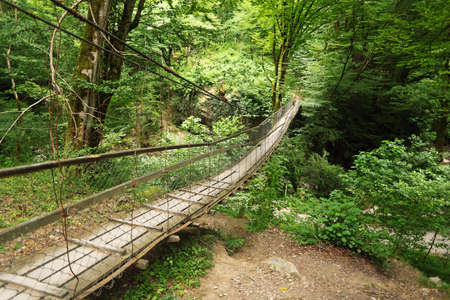 bridge over water: Wooden suspension bridge in wood
