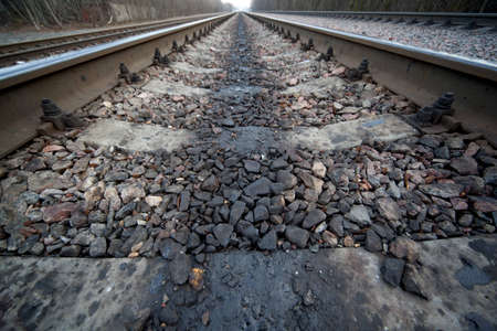disembark: Railway leaves in distance among wood and settlements Stock Photo
