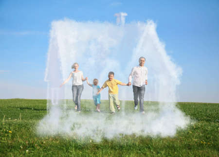 family of four running on grass and dream cloud house collage photo