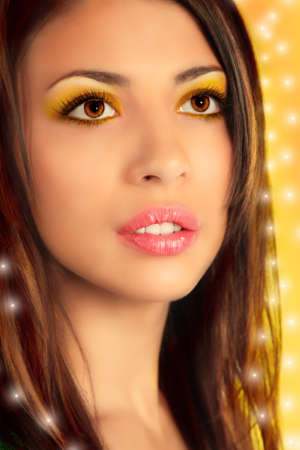 Close-up portrait of beauty girl, collage photo