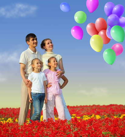 family of four in red field and balloons collage photo