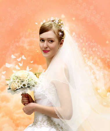 bride with bouquet collage photo