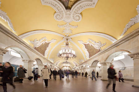 Moscow, Russia, March 23, 2010: Metro station Komsomolskaya with people in Moscow.Moscow metro stations have very beautiful architectural design.Moscow, Russia, March 23, 2010.