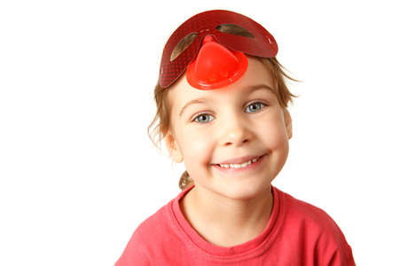 shifted: Portrait of girl in red shirt on white background. Smiling, she looks into camera, his forehead shifted mask.