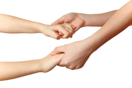 each: Children hold each others hands. Close-up. Isolated on white background.