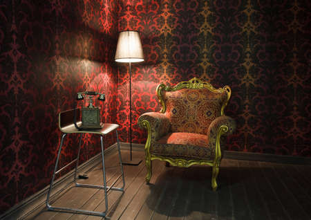 antique phone: corner of the room with red wallpaper, floor lamp and armchair. Old phone on the chair