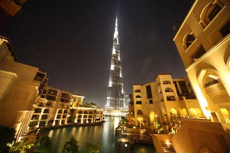 Burj Dubai skyscraper and yellow buildings general view, Dubai, United Arab Emirates