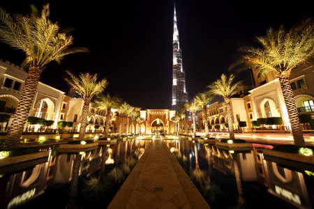 pool halls: Burj Dubai, night Dubai street with palms and pool general view, United Arab Emirates