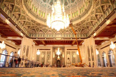 Oman: grand mosque in Oman general view luxury interior Editorial