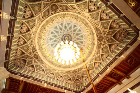 grand mosque in Oman luxury interior cupola with chandelier Stock Photo - 11672963