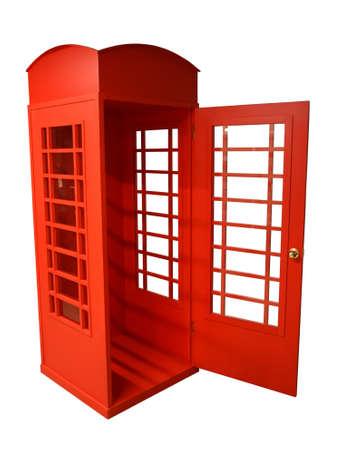 cabina telefonica: Brillante pago de teléfono rojo. Vista de Londres. Fotografiado en el interior. Foto de archivo