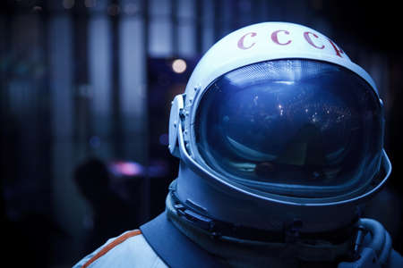 full length mirror: MOSCOW, RUSSIA - NOVEMBER 8: Space Museum. Photo spacesuit. Inscription on the helmet USSR. Close-up. November 8, 2009 in Moscow, Russia.