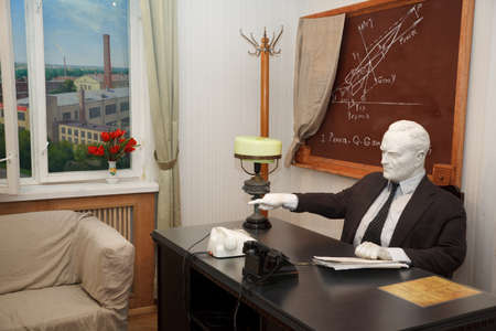 founder: MOSCOW, RUSSIA - NOVEMBER 8: Museum of Soviet space exploration. Plaster figure of Sergei Korolev in his office. Soviet designer, scholar and leader, the founder of practical space. November 8, 2009 in Moscow, Russia.