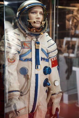 symbolics: MOSCOW, RUSSIA - NOVEMBER 8: Astronautics museum. The Soviet  spacesuit with symbolics of USSR. November 8, 2009 in Moscow, Russia.