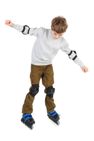 rollerblade: little boy in blue helmet moving hands at sides and rollerblading isolated on white