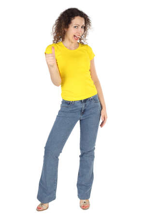 yellow shirt: young attractive woman in yellow shirt and jeans, thumbs up gesture isolated on white
