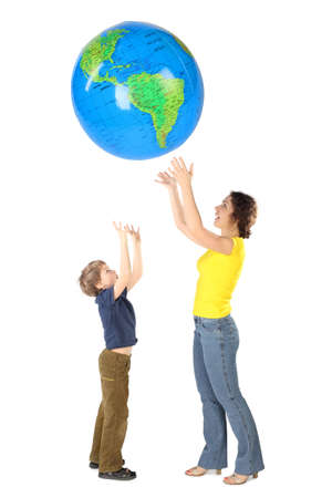 large ball: mother and son throw up big inflatable globe, side view, isolated on white Stock Photo