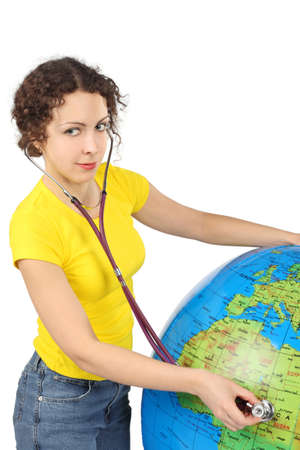 young beauty woman with stethoscope and big inflatable globe, half body, vertical, isolated on white Stock Photo - 12130690