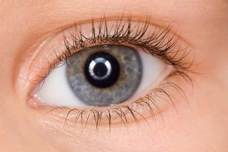 長いまつげを持つ子供の左の青い目のクローズ アップ