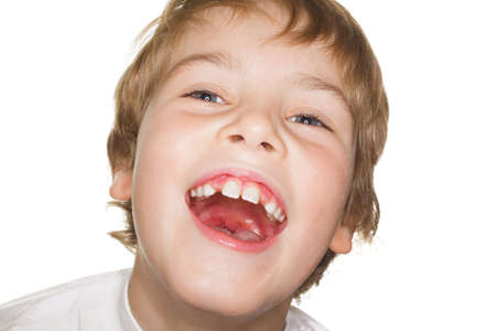 mirth: portrait small child in a white t-shirt photography studio, open mouth. laughter