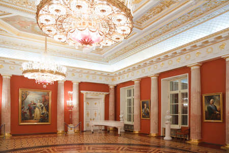 red room of State historical and architectural museum reserve Tsaritsyno, Russia. It was build in 1776.