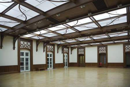 wood ceiling: hall with glass roof and laminate, reflect on floor. white doors