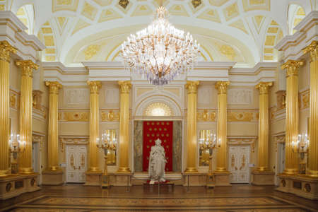 Gold room with statue of State historical and architectural museum reserve Tsaritsyno, Russia. It was build in 1776.