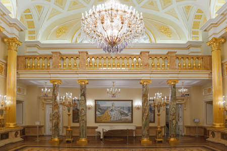 Gold room of State historical and architectural museum reserve Tsaritsyno, Russia. It was build in 1776. Editorial
