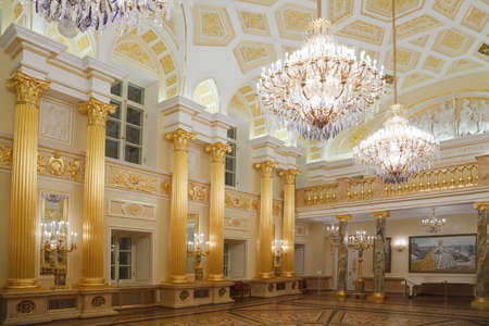 Gold room of State historical and architectural museum reserve Tsaritsyno, Russia. It was build in 1776.