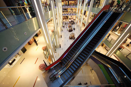 view of a staircase in a shop: DUBAI - APRIL 18: Interior View of Dubai Mall, one of largest mall in the world on April 18, 2010 in Dubai, United Arab Emirates.