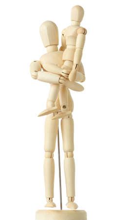 wooden mannequin: wooden figures of child sitting on hands of his parent, full body, isolated on white Stock Photo