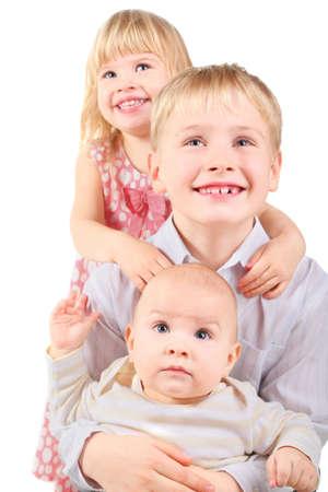 joyful smiling little girl smiling little boy and baby little