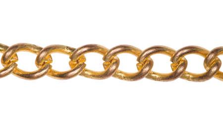 cadenas: Fragmento de la cadena de oro sobre fondo blanco