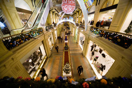 MOSCOW, RUSSIA - DECEMBER 5: New Years interior in GUM. GUM is a modern shopping center with big floor spaces, escalators and huge assortment of goods for all tastes. Moscow, Russia, December 5, 2009