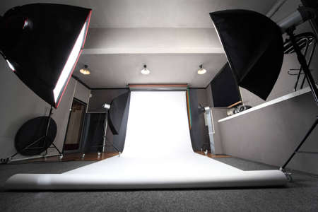interior of professional photo studio with white background general view Stock Photo - 12512065