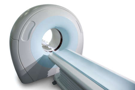 computer tomography: Complete CAT Scan System in a Hospital Environment. Magnetic resonance imaging scan. Isolated. Stock Photo