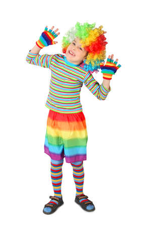 little boy in clown dress hands up isolated on white background Stock Photo - 12611953