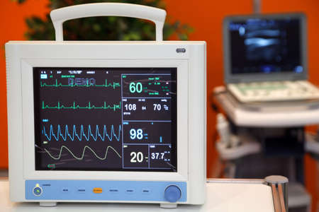 pulse trace: Cardiac Monitor with Vital Signs: EKG, Pulse Oximetry, Blood Pressure