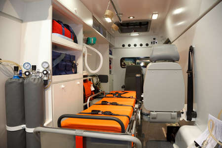 ambulance car: Equipment for ambulances. View from inside.