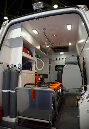 vehicle interior: Equipment for ambulances. View from inside. Photo taken from the rear doors.