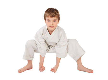 karateka: karateka boy in white kimono isolated on white background Stock Photo