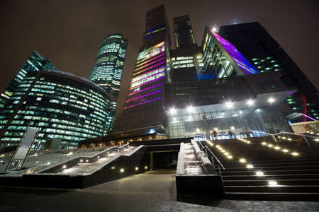 office lighting: MOSCOW, RUSSIA - DECEMBER 10: The Moscow international business centre Moscow-city under construction business area in Moscow on Presnensky quay. Moscow, Russia, December 10, 2009