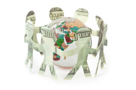 dollars little people cutouts sing and dance in ring around  small globe Stock Photo - 12508866