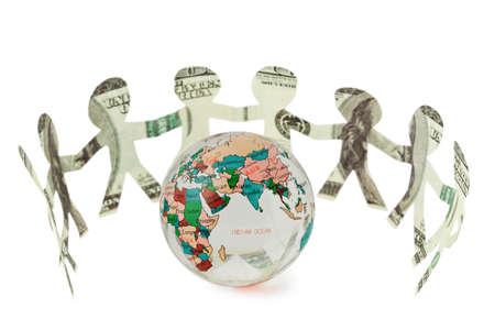 credit union: dollars little people cutouts dance in half ring around  small globe