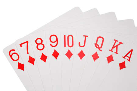 playing cards of colour of diamonds isolated on white background, deal on increase  photo