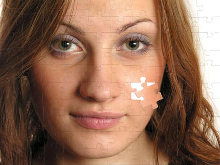 beautiful girl on puzzle picture, collage photo